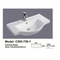 Semi-Reccessed Vanity Top C592-750-1TH